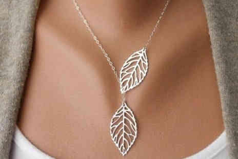 Trendy Banana - 18K White Gold Plated Leaf Necklace - Save 83%