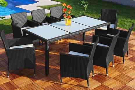 Groupon Goods Global GmbH - Valencia Rattan Effect Dining Set with Six or Eight Seats With Free Delivery - Save 40%