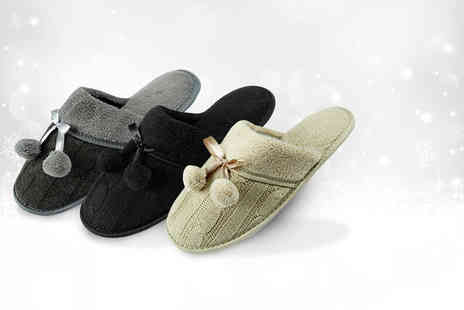 Who Runs the World - Pair of ladies luxury pom pom slippers in black, grey & sand - Save 67%