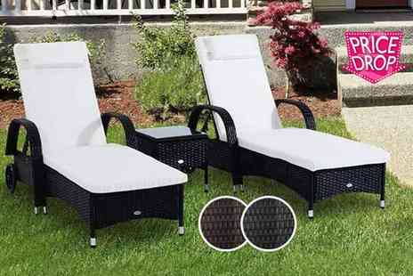 Mhstar - Three piece rattan furniture set with limited number available choose black or brown - Save 60%