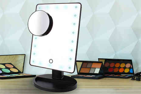 Trending Picks - LED illuminated makeup cosmetic mirror with small magnifying application mirror - Save 77%