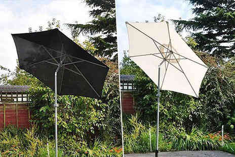 SHS Trading - 2m aluminium garden patio parasol umbrella choose from black or cream - Save 68%