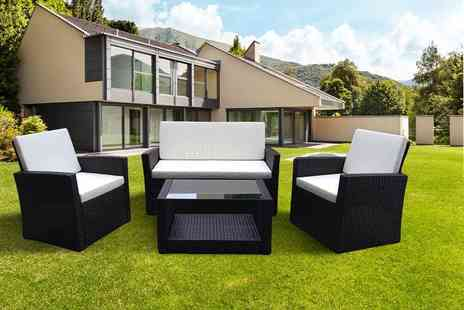 EVRE - Four piece Roma rattan garden furniture set with cushions - Save 71%