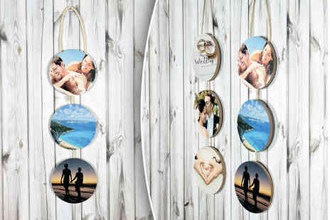 Your Perfect Canvas - Three piece set of personalised hanging circles - Save 80%