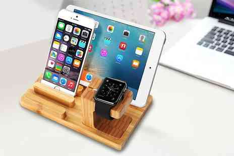Groupon Goods Global GmbH - Wooden Docking Station and Holder for Apple Watch, iPhone and iPad - Save 40%