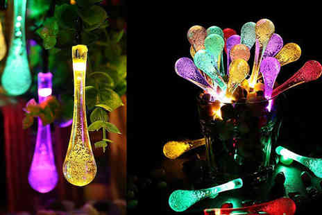 Chimp Electronics - 20 multicoloured waterdrop LED solar string lights - Save 69%