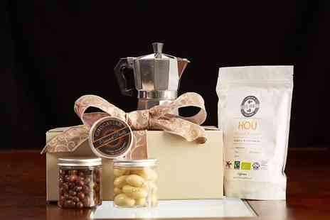 UK Fine Foods - Deluxe coffee and chocolate hamper including a stove top coffee maker - Save 71%