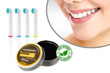 Forever Cosmetics - Four Oral B compatible toothbrush heads and activated charcoal whitening powder - Save 87%