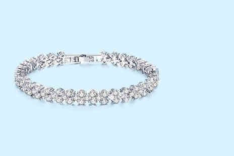 Your Ideal Gift - Multi link rhodium plated crystal tennis bracelet - Save 81%