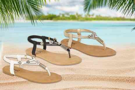 GB GIFTS - Pair of diamante sandals choose black, white or gold - Save 69%