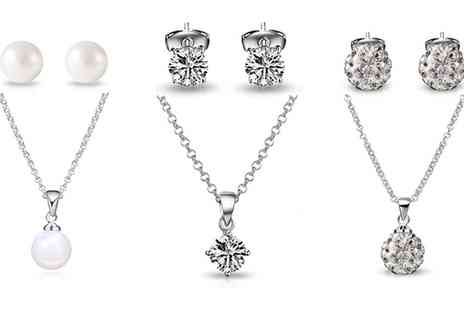 Groupon Goods Global GmbH - Zircondia Pearl Set or Shamballa Set and Philip Jones Set with Crystals from Swarovski - Save 83%