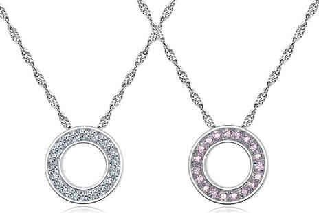 Clear Crystal - Halo Pendant with Crystals From Swarovski Choose from Clear or Pink - Save 85%
