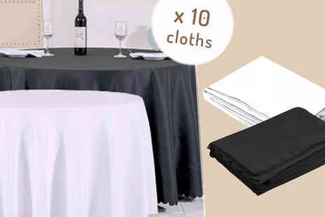 F & A Mediterranean Delicatessen - 10 x Seamless Stitch Round Table Cloths in Black or White - Save 54%