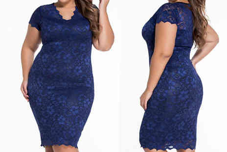 Bonicaro - Plus Size Lace Trim Bodycon Dress Choose from Two Sizes - Save 67%