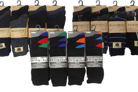 Get The Trend - 12 or 24 Pairs of Mens Assorted Socks - Save 67%
