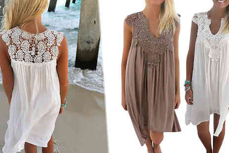 Bazaar me - Floaty Crochet Dress Choose from Three Sizes - Save 80%