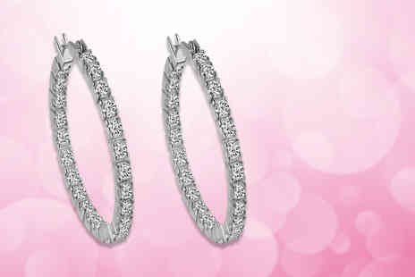 Clear Crystal - Pair of inside out hoop earrings made with crystals - Save 85%