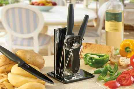 Groupon Goods Global GmbH - Cooks Professional Four Piece Ceramic Knife Set with Optional Block - Save 70%