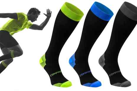 Groupon Goods Global GmbH - Three, Six or Nine Pack Long Compression Socks - Save 0%