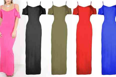 Groupon Goods Global GmbH - Frill Sleeve Strappy Maxi Dress - Save 0%
