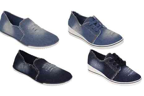 Groupon Goods Global GmbH - Womens Denim Effect Low Plimsolls - Save 0%