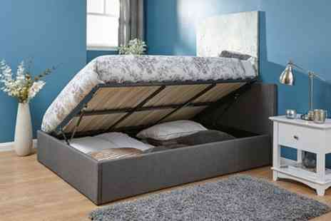 Groupon Goods Global GmbH - Kingsley Fabric Ottoman Bed with End or Side Lift and Optional Mattress - Save 65%
