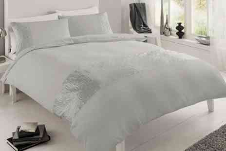 Groupon Goods Global GmbH - Pure Embellished Duvet Cover Set in Choice of Size and Colour - Save 57%