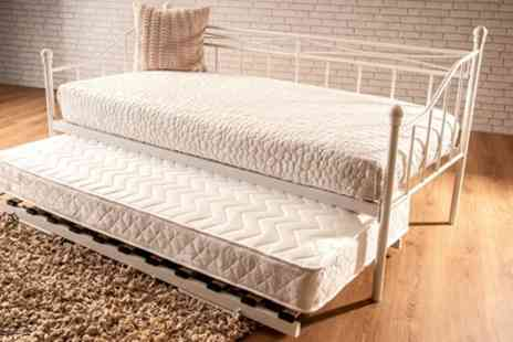Groupon Goods Global GmbH - Montpellier Metal Day Bed Frame, Trundle and Mattress - Save 92%
