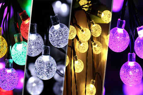 Goods Direct - LED Crystal Ball Solar String Lights - Save 77%