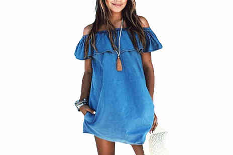 Bazaar me - Blue Denim Off the-Shoulder Summer Dress in 4 Sizes - Save 77%