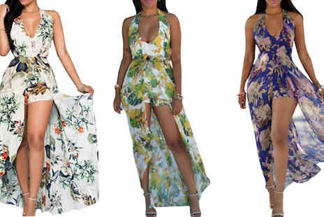 Bazaar me - Floral Print Playsuit with Maxi Skirt in 3 Colours, 3 Sizes - Save 75%