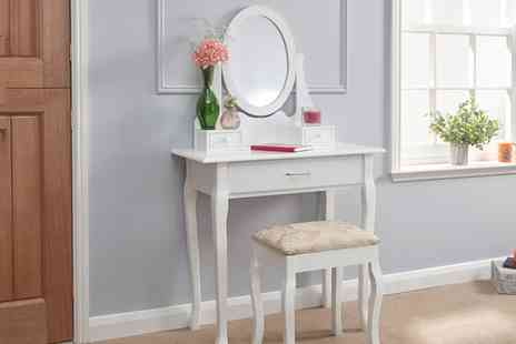 Groupon Goods Global GmbH - Classic or Antique Style Dressing Table and Stool With Free Delivery - Save 0%
