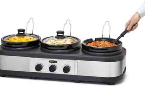 Groupon Goods Global GmbH - Bella Cook and Serve Three Pot Slow Cooker with Keep Warm Buffet Setting - Save 58%