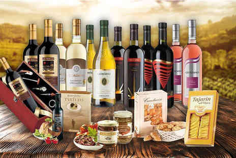 Giordano Wines - 12 bottle Italian wine and food hamper with a sommelier set - Save 58%