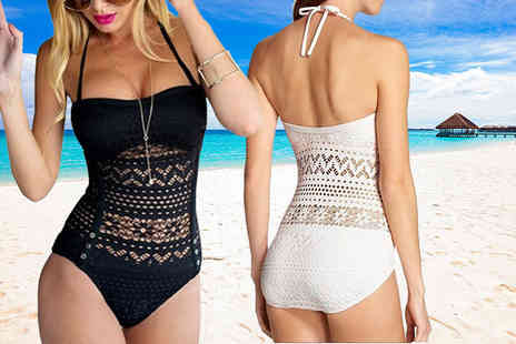 Bluebell Retail - Crochet swimsuit choose black or white - Save 66%