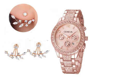 Fakurma - Crystal watch and matching earrings set - Save 87%