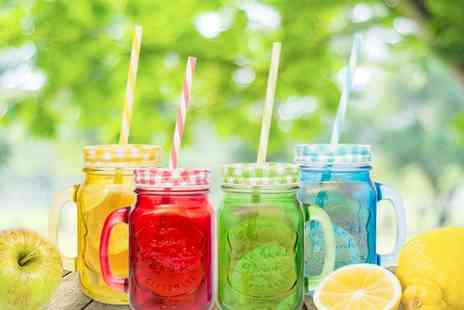 Ckent - Four pack of coloured mason jar mugs with gingham style lids and striped straws - Save 73%
