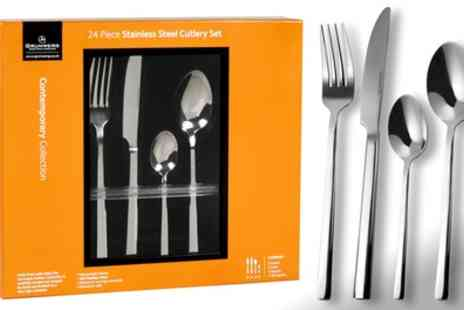 Groupon Goods Global GmbH - Grunwerg 24 Piece Cutlery Set in Choice of Design - Save 61%