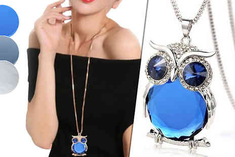 Jewleo - Owl Simulated Crystal Pendant Choose from Three Colours - Save 79%