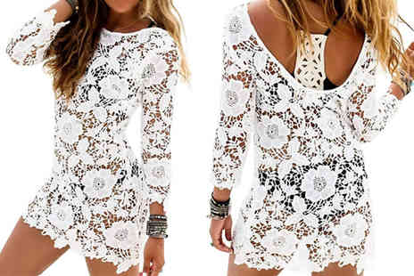 Bazaar me - Crochet Beach Cover Up Dress Choose from Four Sizes - Save 84%