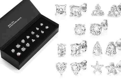 Groupon Goods Global GmbH - Philip Jones One, Four or Seven Pairs of Stud Earrings with Crystals from Swarovski - Save 79%