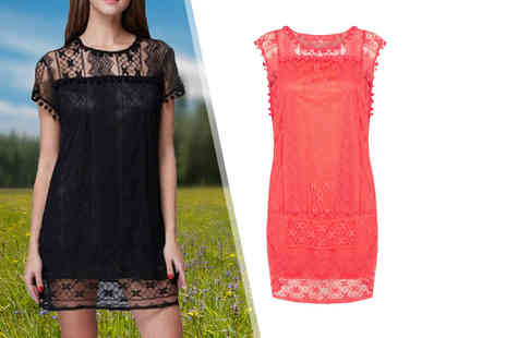 Boni Caro - Lace summer dress choose from black and coral - Save 80%