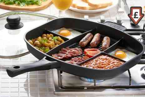 Groupon Goods Global GmbH - Cooks Professional Split Section Frying Pan with an Optional Lid and Induction Base - Save 72%