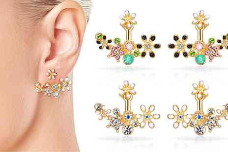 Groupon Goods Global GmbH - One or Two Pairs of Flower Statement Earrings with Crystals from Swarovski - Save 77%