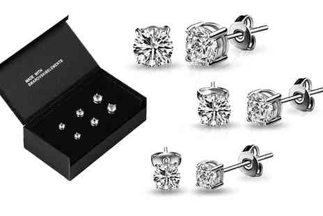 Groupon Goods Global GmbH - Three or Six Pairs of Rhodium Plated Earrings with Crystals from Swarovski - Save 82%