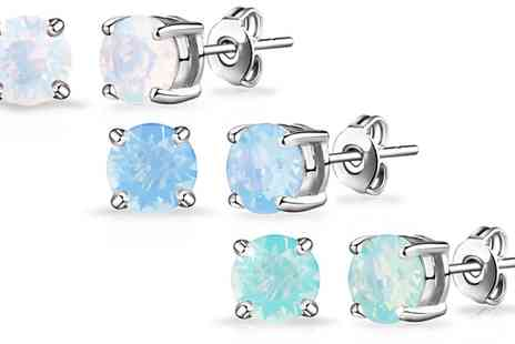 Groupon Goods Global GmbH - One or Three Pairs of Philip Jones Opal Earrings with Crystals from Swarovski® - Save 75%