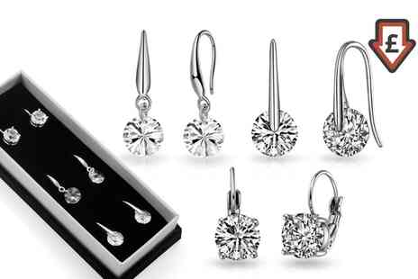 Groupon Goods Global GmbH - Three or Six Pairs of Round Drop Earrings with Crystals from Swarovski - Save 76%