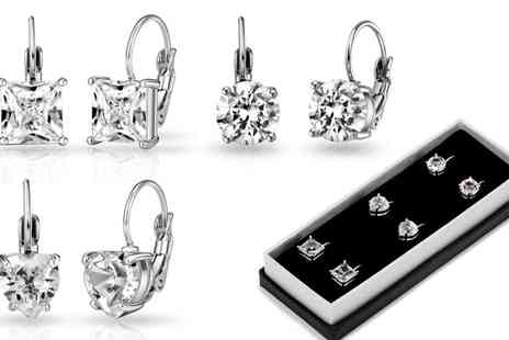 Groupon Goods Global GmbH - Pack of Three Philip Jones Drop Earrings with Crystals from Swarovski - Save 74%