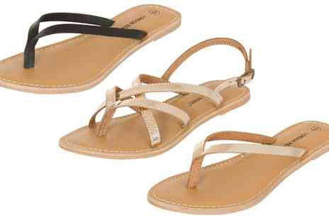 Groupon Goods Global GmbH - London Rebel Womens Flat Leather Flip Flops or Sandals - Save 48%
