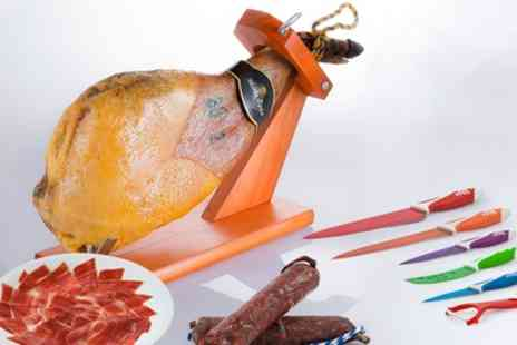 Groupon Goods Global GmbH - 4kg Serrano Ham Shoulder and Iberian Sausages with Knives and DVD - Save 63%
